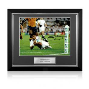 Jason Robinson Signed England Rugby Photo: World Cup Final Try. Deluxe Frame