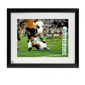 Jason Robinson Signed England Rugby Photo: World Cup Final Try. Framed