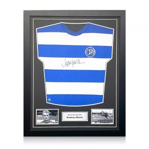 Rodney Marsh Signed Queens Park Rangers Football Shirt. Standard Frame