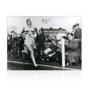 Roger Bannister Signed Photograph: With Historic Time Added By Sir Roger In Gift Box