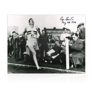 Roger Bannister Signed Photograph: With Historic Date Added By Sir Roger. In Gift Box