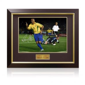 Framed Ronaldo de Lima Signed Brazil Photo: World Cup Final Goal