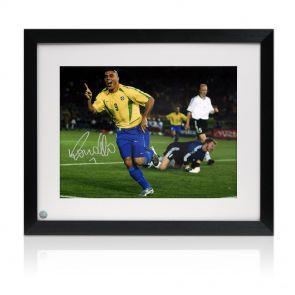 Framed Ronaldo de Lima Signed Brazil Photo: World Cup Final Goal