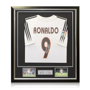 Framed Ronaldo de Lima Signed 2004-05 Real Madrid Home Shirt