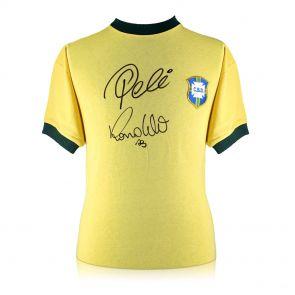 Ronaldo de Lima and Pele Signed Brazil Shirt In Gift Box