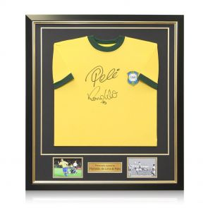 Framed Ronaldo de Lima and Pele Signed Brazil Shirt