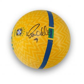 Ronaldo de Lima Signed Brazil Football In Display Case