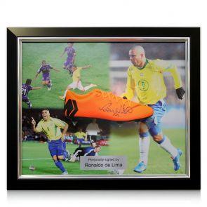 Framed Ronaldo de Lima Signed Nike Mercurial Football Boot - Right