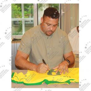 Ronaldo de Lima Signed 1998-00 Brazil Home Shirt - Damaged Stock
