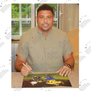 Ronaldo de Lima Signed Brazil  Football Photo: World Cup Final Goal. Deluxe Frame