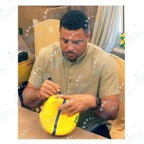 Ronaldo de Lima Signed Brazil Football - Smudged Stock