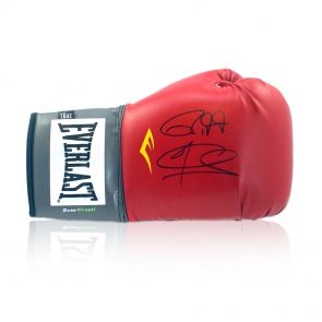 Signed Roy Jones Joe Calzaghe Boxing Glove