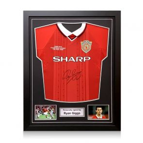Ryan Giggs Signed Manchester United 1999 Champions League Shirt. Framed
