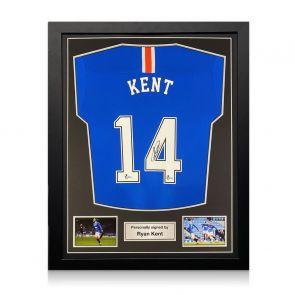 Ryan Kent Signed Rangers Shirt. 2020-21. Standard Frame