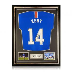 Ryan Kent Signed Rangers Shirt. 2020-21. Superior Frame