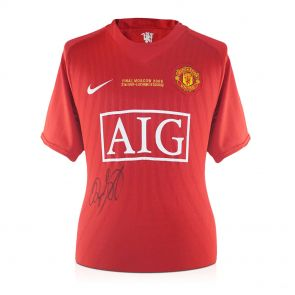 Ryan Giggs Signed 2008 Manchester United Champions League Shirt. In Deluxe Black Frame With Gold Inlay
