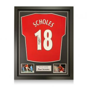 Paul Scholes Signed Manchester United Shirt. Framed
