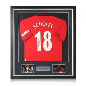 Paul Scholes Signed Manchester United Shirt. Deluxe Frame