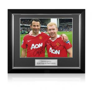 Paul Scholes And Ryan Giggs Signed Manchester United Photo. Deluxe Frame