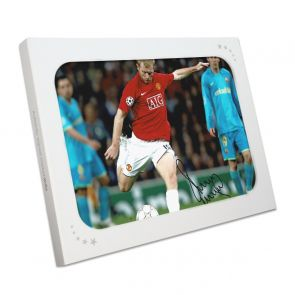 Paul Scholes Signed Manchester United Photo: Barcelona Goal. In Gift Box