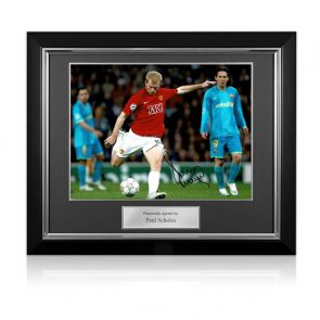Paul Scholes Signed Manchester United Photo: Barcelona Goal. Deluxe Frame