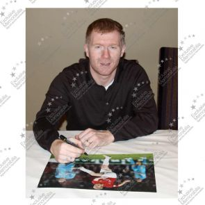 Paul Scholes Signed Manchester United Photo: Barcelona Goal