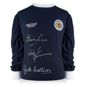 Scotland Shirt Signed by Denis Law, Bobby Lennox And Jim McCalliog In Gift Box