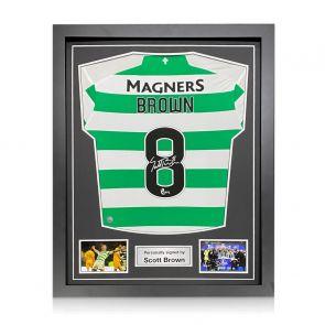 Scott Brown Signed Celtic Shirt. 2019-20. Framed