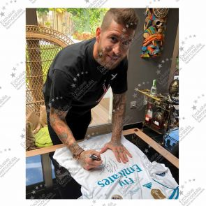 Sergio Ramos Signed 2017-18 Real Madrid Champions League Final Shirt - Damaged Stock