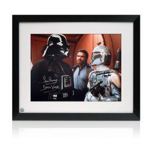 Framed Boba Fett And Darth Vader Signed Photo