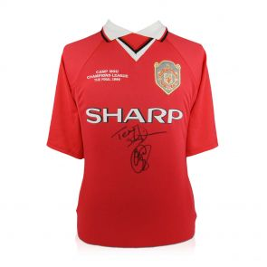 Teddy Sheringham & Ole Gunnar Solskjaer Signed 1999 Manchester United Champions League Shirt In Gift Box