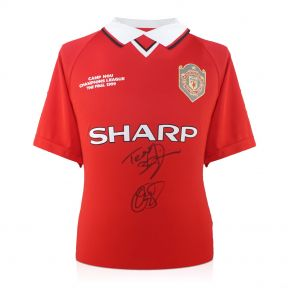 Teddy Sheringham And Ole Gunnar Solskjaer Signed 1999 Manchester United Champions League Shirt In Gift Box