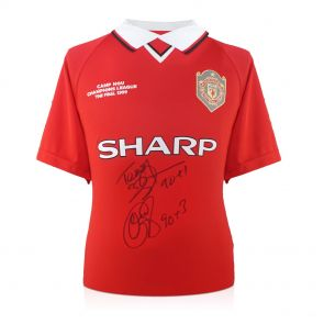 Teddy Sheringham & Ole Gunnar Solskjaer Signed Manchester United Shirt With Goal Times In Gift Box