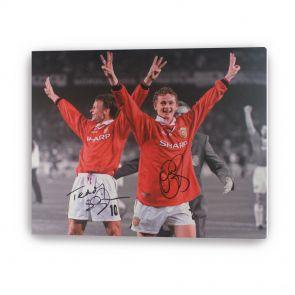 Teddy Sheringham & Ole Gunnar Solskjaer Signed Manchester United Canvas