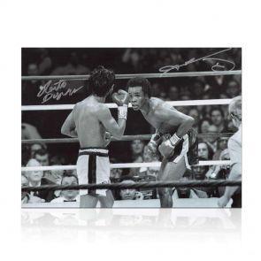 Sugar Ray Leonard And Roberto Duran Signed Classic Boxing Photo. In Gift Box
