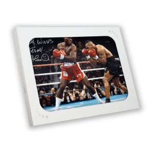 Frank Bruno v Mike Tyson Autographed Photo In Gift Box