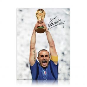 Fabio Cannavaro Signed Photo: Lifting The 2006 World Cup For Italy. In Gift Box