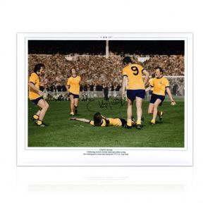 Charlie George Signed Arsenal 1971 FA Cup Final Photo. In Deluxe Black Frame With Silver Inlay
