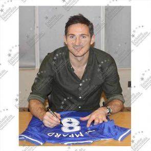 Deluxe Framed Frank Lampard Signed Chelsea 2013-14 Shirt (With Silver Inlay)