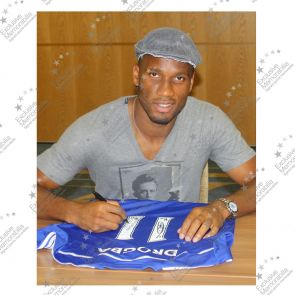 Deluxe Framed Didier Drogba Signed Chelsea 2014-15 Premiership Shirt With Silver Inlay