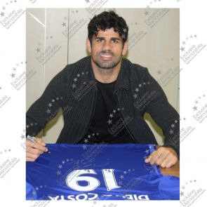 Deluxe Framed Diego Costa Signed Chelsea 2014-15 Premiership Shirt (With Silver Inlay)