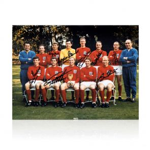 England 1966 World Cup Winners Photo Signed By Eight Of The Team. In Deluxe Black Frame With Silver Inlay