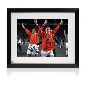 Signed And Framed Sheringham & Solskjaer Photo