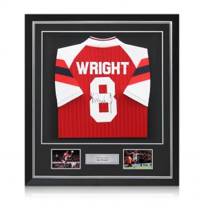 Signed and framed Ian Wright Arsenal shirt