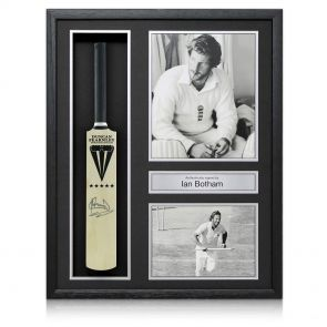 Sir Ian Botham Signed Framed Duncan Fearnley Mini Cricket Bat
