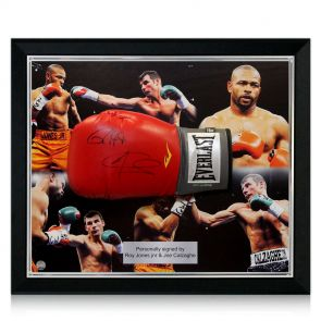 Signed Framed Roy Jones Joe Calzaghe Boxing Glove