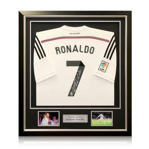 Signed, framed Ronaldo jersey