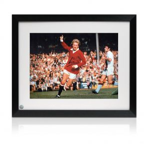 Denis Law signed and framed Man Utd picture