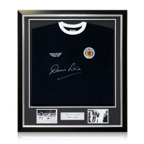 Signed And Framed Denis Law Scotland Shirt