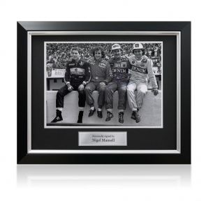 Signed framed Nigel Mansell photo